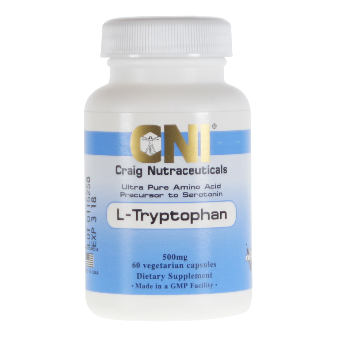 L Tryptophan 500mg Supplement 180 Capsules Cni Ultra
